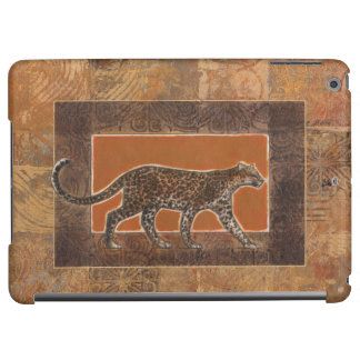 Leopard on Orange and Brown Background