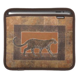 Leopard on Orange and Brown Background iPad Sleeve
