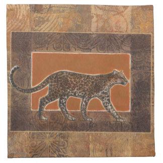Leopard on Orange and Brown Background Napkin