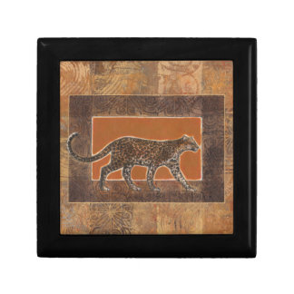 Leopard on Orange and Brown Background Small Square Gift Box