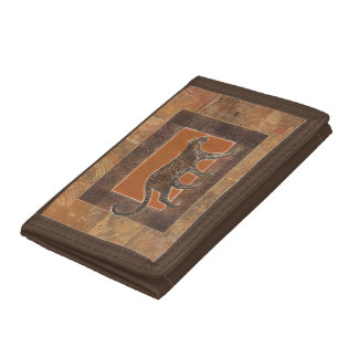Leopard on Orange and Brown Background Tri-fold Wallets