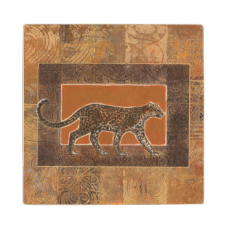 Leopard on Orange and Brown Background Wood Coaster