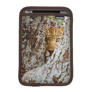 Leopard (Panthera Pardus) Hiding Behind Tree iPad Mini Sleeve