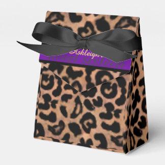 Leopard Patt Purple Stripe Sweet 16 Personalized Favour Box
