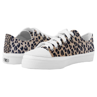 Leopard Pattern Abstract Low Top Sneakers Shoes
