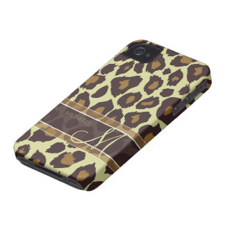 Leopard Pattern - Brown and Tan with Monogram iPhone 4 Case-Mate Case