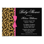 Leopard Pattern Pink Printed Ribbon Baby Shower 13 Cm X 18 Cm Invitation Card
