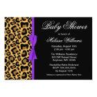 Leopard Pattern Purple Printed Ribbon Baby Shower Card
