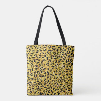 leopard pattern texture black and gold tote bag
