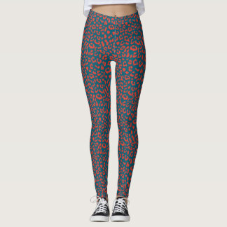 Leopard Patterned Leggings - Red and Slate Blue