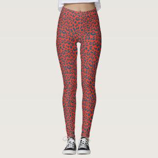 Leopard Patterned Leggings - Slate Blue on Red