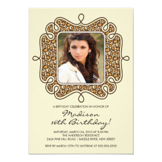 Leopard Photo Sweet Sixteen Birthday Inviation 13 Cm X 18 Cm Invitation Card
