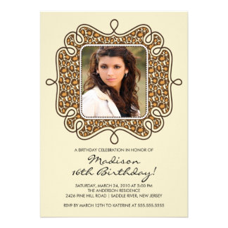 Leopard Photo Sweet Sixteen Birthday Inviation Announcements
