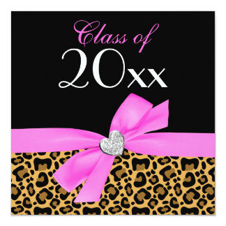 Leopard Pink Black Bow Heart Graduation Party Card