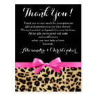 Leopard Pink Bow Girl Safari Baby Shower Thank You Postcard