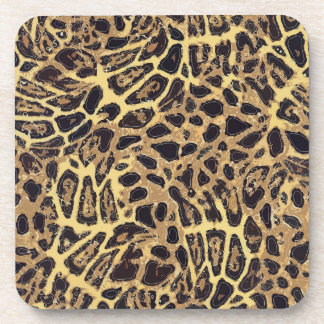 Leopard Plastic coasters with cork back - set of 6