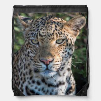 Leopard portrait, close up drawstring bag