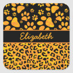 Leopard Print and Paws Orange Yellow Personalised Square Sticker