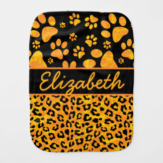Leopard Print and Paws Orange Yellow Personalized Baby Burp Cloths