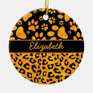 Leopard Print and Paws Orange Yellow Personalized Christmas Ornament