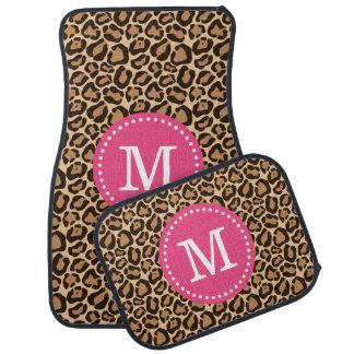 Leopard Print and Pink Custom Monogram Car Mat