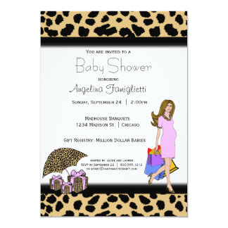 Leopard Print And Pink Shopping Mommy 13 Cm X 18 Cm Invitation Card