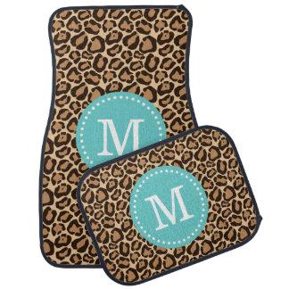 Leopard Print and Turquoise Custom Monogram Car Mat