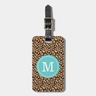 Leopard Print and Turquoise Custom Monogram Luggage Tag
