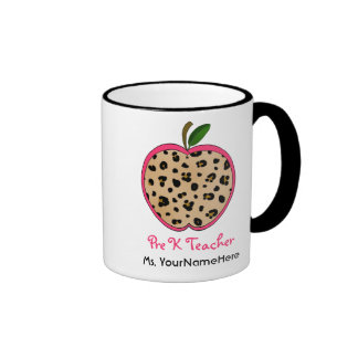 Leopard Print Apple Pre K Teacher Mug