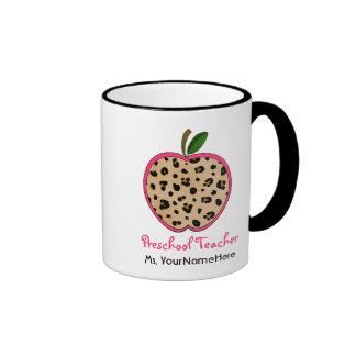 Leopard Print Apple Preschool Teacher Mug