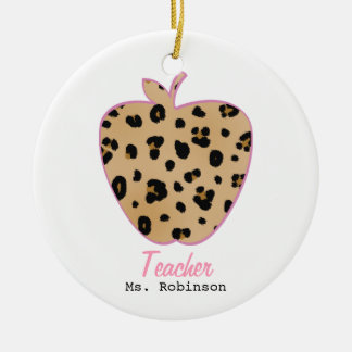 Leopard Print Apple Teacher Round Ceramic Decoration