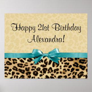 Leopard Print Aqua Blue Bow Girls Womens Birthday