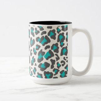 Leopard Print Aqua, Gray, White Mugs