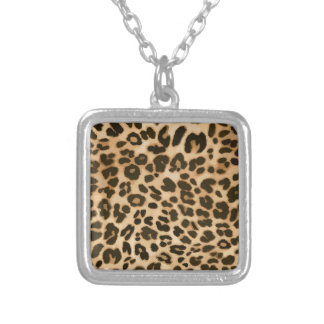 Leopard Print Background Silver Plated Necklace