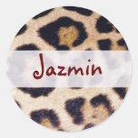 Leopard Print Big Cat Real Fur Pattern Design Round Stickers