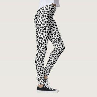 Leopard Print - Black and White Leggings