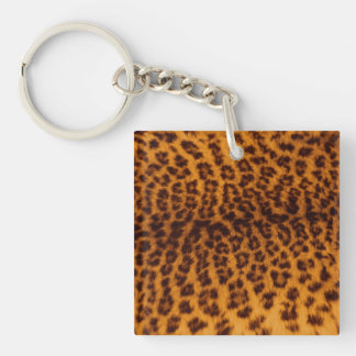 Leopard print black spotted Skin Texture Template Double-Sided Square Acrylic Key Ring