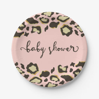 Leopard Print | Blush Pink | Baby Shower Paper Plate
