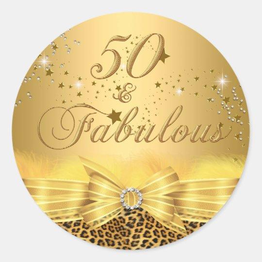 Leopard Print Bow 50 & Fabulous Birthday Sticker
