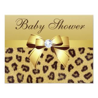 Leopard Print, Bow & Diamond Baby Shower Card