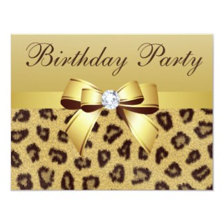 Leopard Print, Bow & Diamond Birthday Party Card