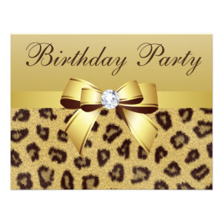 Leopard Print Bow Diamond Birthday Party Personalized Announcement