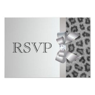 Leopard Print, Bow & Diamond RSVP Wedding Card