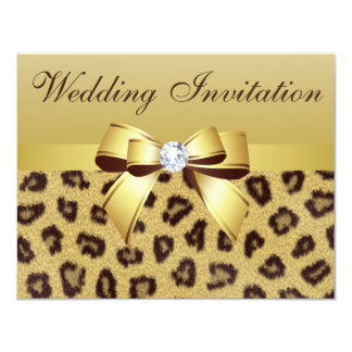 Leopard Print, Bow & Diamond  Wedding Invitation