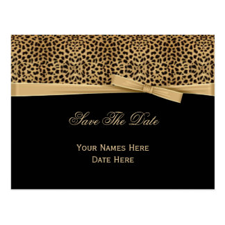 Leopard Print Bow Ribbon on Black Save The Date Postcard