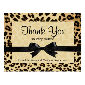 Leopard Print Bow Thank You Note Postcard