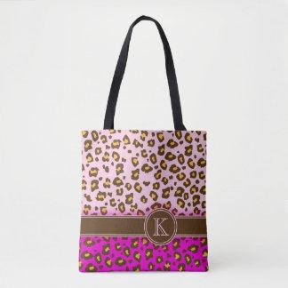 Leopard print brown pink monogram animal print bag
