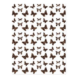 Leopard Print Butterflies Pattern Postcard