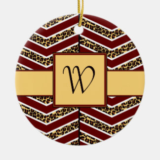 Leopard Print Chevron Ornament