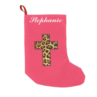 Leopard Print Cross on Neon Coral Pink
